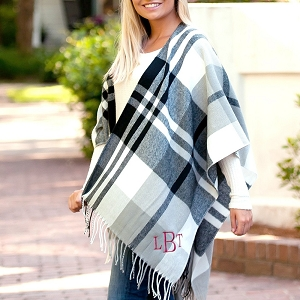 Monogrammed Black and Gray Kennedy Shawl