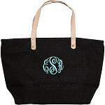 Monogrammed Black Mini Jute Handbag