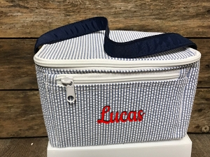 Navy/Blue Seersucker Lunchbox