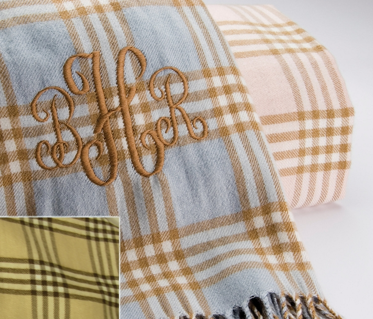 monogrammed preppy plaid baby blanket