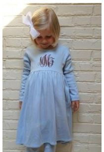 Monogrammed Blue Long Sleeved Empire Waist Dress