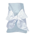 Monogrammed Swaddle Blanket Blue with White Bow