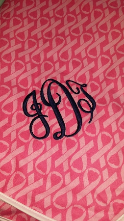 Monogrammed Breast Cancer Awareness Flannel/Fleece Blanket