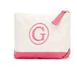 Monogrammed Canvas Cosmetic Bag-Hot Pink Trim