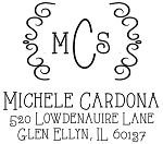 Personalized Return Address Stamp -Casual Monogram