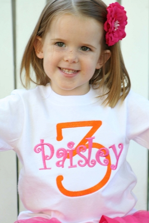 7b9ee820f101 Personalized Child's Embroidered Name and Number T-Shirt