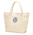 Monogrammed Simple Tote Bag in Cream