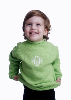 monogrammed child's sweater