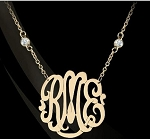 Script Monogram Pendant on CZ Chain