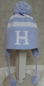 Monogrammed Striped Hat With Pom Pom