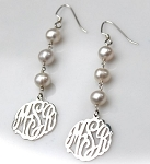 Monogrammed Earrings with Drop-Pearls