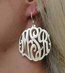 Monogrammed Interlocking Script Earrings On French Wire