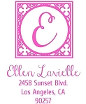 Personalized Return Address Stamp -Girly Script Initial