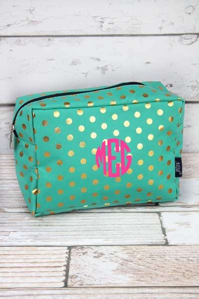 Monogrammed Metallic Gold Dot Cosmetic Case Mint or Coral Pink
