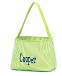 Personalized Green Seersucker Stripe Easter Bucket