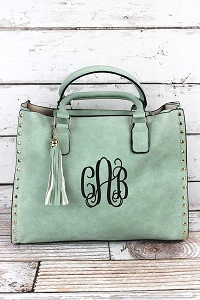 Monogrammed Faux Leather Studded 2-1 Tassel Tote in 4 colors