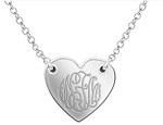 Heart Pendant Necklace with Script Monogram