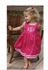 Monogrammed Garden Princess Dress Hot Pink w/White Trim