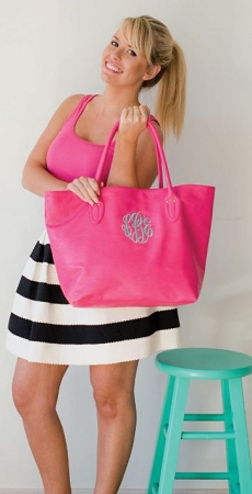 Monogrammed Simple Tote Bag in Hot Pink