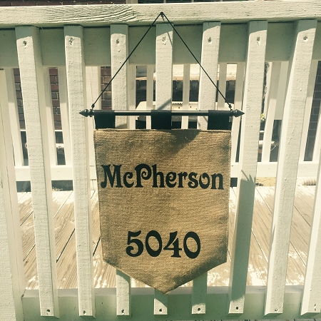 Personalized Burlap House Number Flag