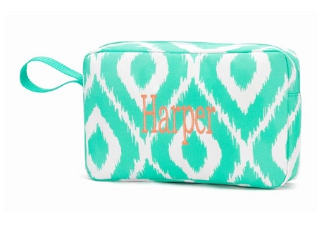 Monogrammed Mint Ikat Small Cosmetic Bag