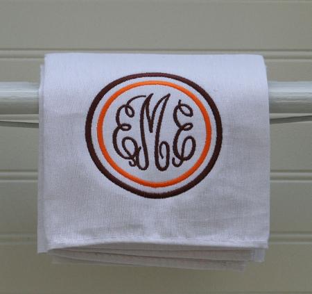 White Monogrammed Kitchen Towel