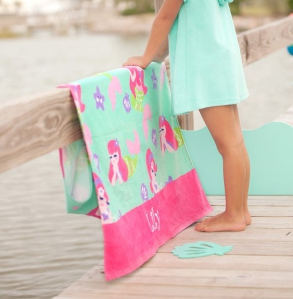 Monogrammed Mermaid Kisses Beach Towel