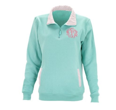 Monogrammed Mint Pullover with Pink Stripe Collar