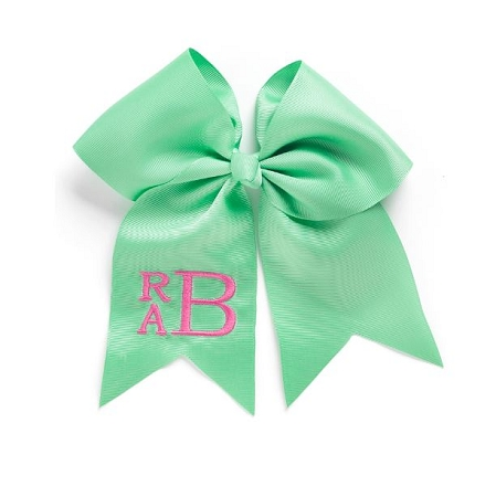 Monogrammed Mint Grosgrain Hair Bow