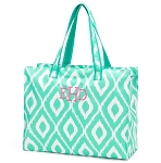 Monogrammed Mint Ikat Print Beach Bag