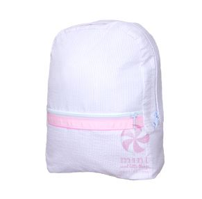Monogrammed Pink Seersucker Backpack