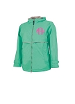 Monogrammed Ladies Mint Rain Coat