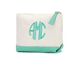 Monogrammed Canvas Cosmetic Bag-Mint Trim