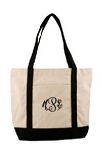 Monogrammed Canvas Black Boat Tote