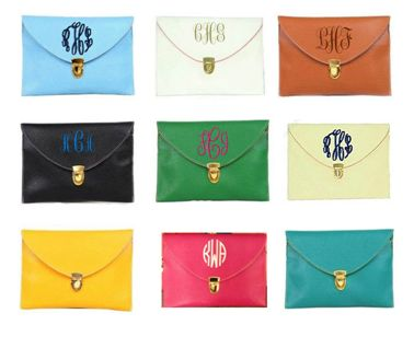 Monogrammed Envelope Clutch Purse