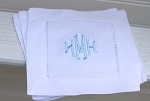 Monogrammed White Hemstitched Cocktail Napkins