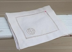 Monogrammed Ivory Hemstitched Cocktail Napkins