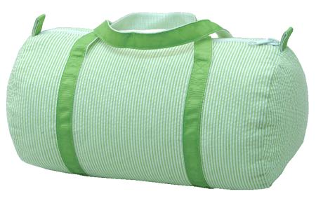 edfd32d39d04 Monogrammed Seersucker Lime Green Duffle Bag