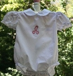 White Monogrammed Baby Girl Bubble