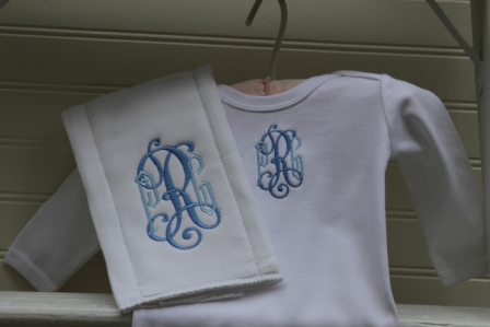 Monogrammed Newborn Gown and Burp Cloth Set