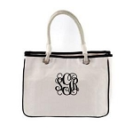 Monogrammed White and Black Tote