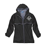 Monogrammed Ladies Black Rain Coat