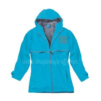 Monogrammed Ladies Wave Blue Rain Coat