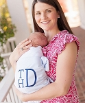 Monogrammed Swaddle Blanket with Blue Seersucker