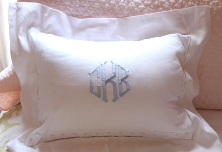 Monogrammed Swiss Dot Baby Pillow