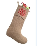 Monogrammed Burlap Stocking