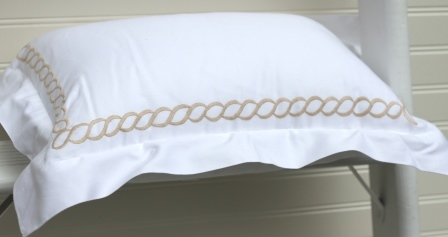 Monogrammed Gold Chain Link Boudoir Pillow