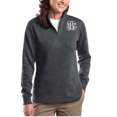 Ladies Charcoal Gray Monogrammed Quarter Zip Sweatshirt