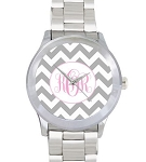 chevron monogrammed watch