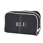 Monogrammed Black Canvas Dopp Kit
